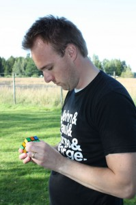 Stefan concentrated on solving Rubik's cube.