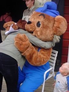 Me giving Bamse a birthday hug on his 30th birthday, 2003.
